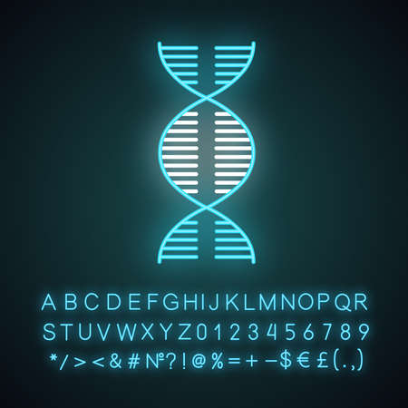 DNA spiral neon light icon. Deoxyribonucleic, nucleic acid helix. Molecular biology. Genetic code. Genetics. Medicine. Glowing sign with alphabet, numbers and symbols. Vector isolated illustration