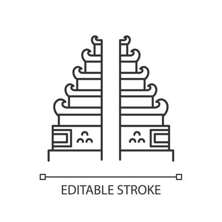 Pura Lempuyang temple linear icon. Indonesian religious places. Hinduist candi bentar split gate entrance. Thin line illustration. Contour symbol. Vector isolated outline drawing. Editable stroke