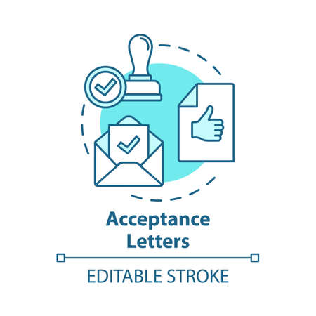 Acceptance letters concept icon. Envelope with approved document. Mailing acceptance letters. Successful verification idea thin line illustration. Vector isolated outline drawing. Editable stroke