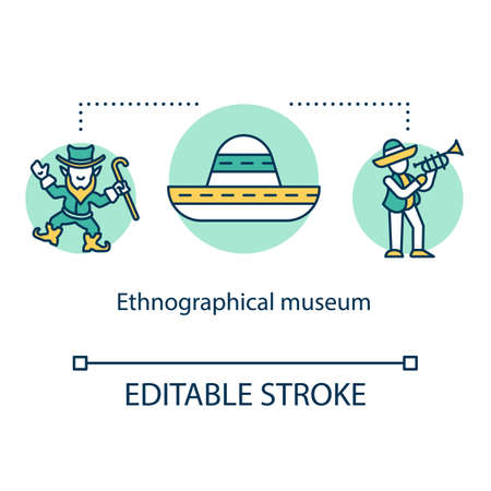 Ethnographical museum concept icon. People heritage exposition. Anthropology. Global history. Traditional festival idea thin line illustration. Vector isolated outline drawing. Editable stroke 向量圖像
