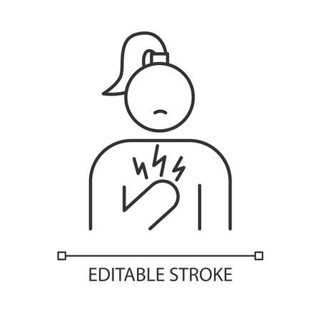 Chest pain linear icon. Stressed girl. Anxious woman. Heart attack. Predmenstrual syndrome symptom. Thin line illustration. Contour symbol. Vector isolated outline drawing. Editable stroke