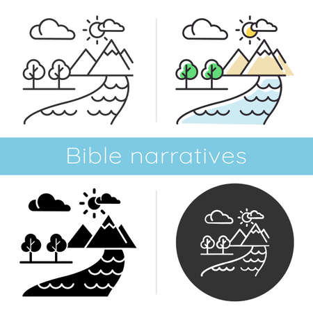 The Beginning Bible story icon. World creation. Earth, paradise, heaven. Religious legend. Christian religion. Biblical narrative. Glyph, chalk, linear and color styles. Isolated vector illustrations