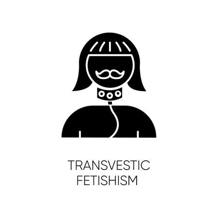 Transvestic fetishism glyph icon. Drag crossdressing. Erotic interest in transgender. Paraphilia. Sexual deviation. Mental disorder. Silhouette symbol. Negative space. Vector isolated illustration