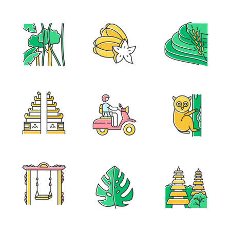 Indonesia color icons set. Tropical country animals. Trip to Indonesian islands. Exploring exotic wildlife. Unique flora and fauna. Bali sightseeing and architecture. Isolated vector illustrations