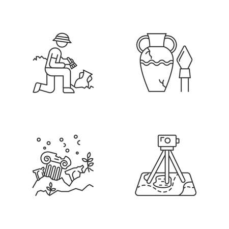 Archeology linear icons set. Excavation. Ancient artifact. Lost cities. Column ruins. Field survey. Thin line contour symbols. Isolated vector outline illustrations. Editable stroke Векторная Иллюстрация