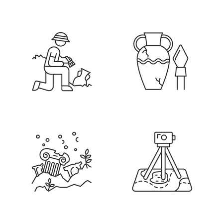 Set di icone lineari di archeologia. Scavo. Antico manufatto. Città perdute. Rovine di colonne. Indagine sul campo. Simboli di contorno linea sottile. Illustrazioni di contorno vettoriale isolato. Tratto modificabile Vettoriali