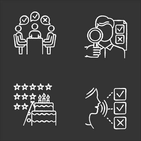 Survey methods chalk icons set. Group administered questionnaire. High rating. Public opinion. Customer audio review. Event evaluation, expert survey. Isolated vector chalkboard illustrations