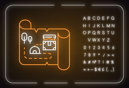 Treasure map neon light icon. Ancient manuscript. Old scroll. Treasure chest location. Historical artifacts. Pirate gold. Glowing sign with alphabet, numbers and symbols. Vector isolated illustration
