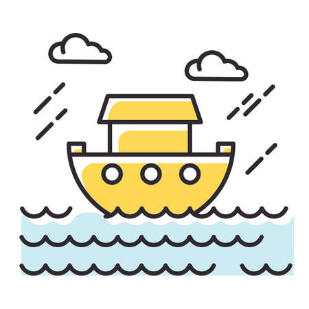 The Flood Bible story color icon. Noah Ark. Sacred ship in worldwide water. Religious legend. Christian religion, holy book scene plot. Biblical narrative. Isolated vector illustration