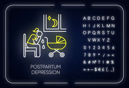 Postpartum depression neon light icon. Crying woman. Delivering infant. Tired mother. Mental problem. Postnatal anxiety. Glowing sign with alphabet, numbers and symbols. Vector isolated illustration