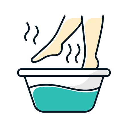 Farbsymbol für das Fußbad. Bein in heißem Wasser. Spa-Behandlung. Erkältungsbehandlung. Gesundheits- und Hautpflege. Wellness. Grippeinfektion, Influenzavirus-Hilfe. Hilfe bei Krankheit. Isolierte Vektorillustration Vektorgrafik