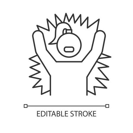 Emotional outburst linear icon. Outrage and tantrum. Aggressive person. Shouting and yelling. Irritated girl. Thin line illustration. Contour symbol. Vector isolated outline drawing. Editable stroke