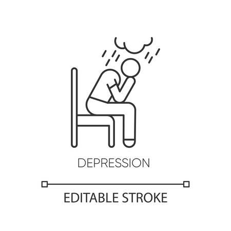 Depression linear icon. Crying person. Chronic exhaustion and fatigue. Frustration and stress. Mental disorder. Thin line illustration. Contour symbol. Vector isolated outline drawing. Editable stroke
