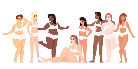 Women dressed in two-piece swimsuits flat vector illustration. Body positive and feminism. Plus size figure. Smiling ladies of different nationalities isolated cartoon character on white background