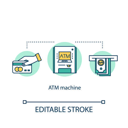 ATM machine concept icon. Cashpoint idea thin line illustration. Cashline, bankomat. Cash withdrawal. Financial transaction. Digital banking. Vector isolated outline drawing. Editable stroke