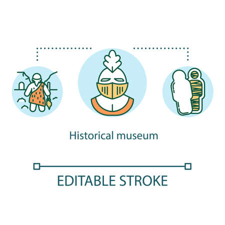 Historical museum concept icon. Archeological artifacts. Anthropology exposition. Cultural heritage exhibition idea thin line illustration. Vector isolated outline drawing. Editable stroke 일러스트