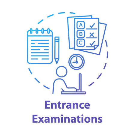 Entrance examination concept icon. Entry exam. Passing test. Fight for study place. Check knowledge and level of training idea thin line illustration. Vector isolated outline drawing