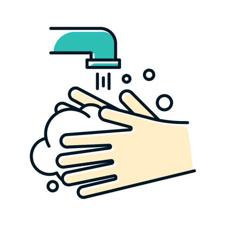 Rinse hands color icon. Hygiene and healthcare. Common cold precaution. Germ cleansing. Washing hand. Disinfect from flu bacteria. Influenza virus prevention. Isolated vector illustration Vetores
