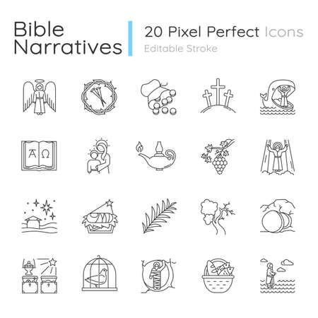 Bible narratives linear icons set. Life of Jesus Christ. Gospel miracles and parables. Legends of Holy Scriptures. Thin line contour symbols. Isolated vector outline illustrations. Editable stroke  イラスト・ベクター素材