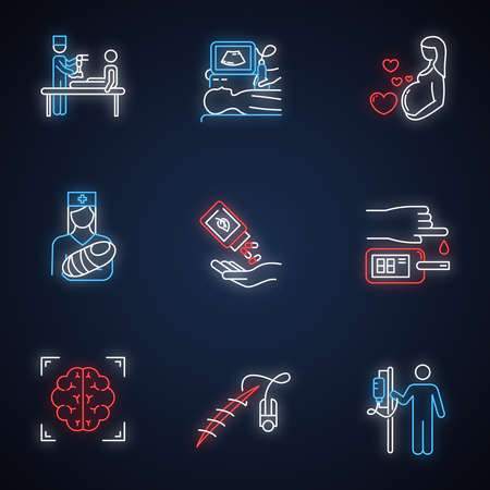 Medical procedure neon light icons set. Prosthetics. Ultrasound diagnostic. Pregnancy, pediatrics. Homeopathy. Blood test. Brain scan. Stitching. Dropper. Glowing signs. Vector isolated illustrations