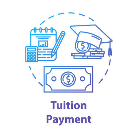 Tuition payment concept icon. Education cost. Financial grant. Knowledge investment. Counting college savings fund idea thin line illustration. Vector isolated outline drawing