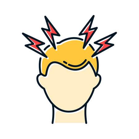 Icône de couleur de maux de tête. Migraine. Mal de tête. Symptôme du rhume. Soins de santé. Infection grippale, virus de la grippe. Soins de santé. Pression et tension. Anxiété et stress. Illustration vectorielle isolée Vecteurs