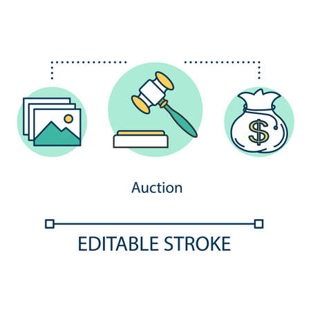Auction concept icon. Bargaining for artwork. Commercial deal for cultural items. Bidding gavel. Trading offer idea thin line illustration. Vector isolated outline drawing. Editable stroke