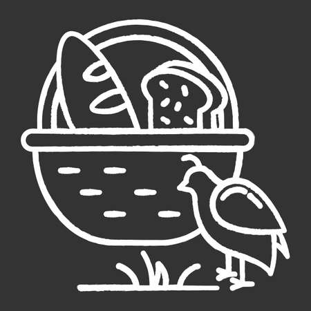Manna and quail Bible story chalk icon. Bread loaves in basket and fowl. Religious legend. Christian religion, holy book scene plot. Biblical narrative. Isolated vector chalkboard illustration