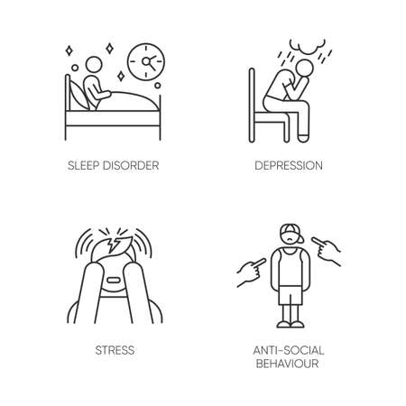 Mental disorder linear icons set. Sleep deprivation. Depression and anxiety. Stress. Anti-social behaviour. Migraine. Thin line contour symbols. Isolated vector outline illustrations. Editable stroke
