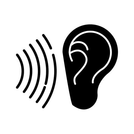 Sound signal glyph icon. Audible soundwave. Listening ear. Loud noise perception. Voice call, sound susceptibility. Hearing ability. Silhouette symbol. Negative space. Vector isolated illustration