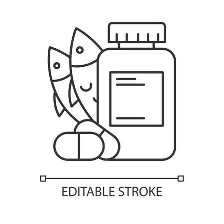 Vitamin intake linear icon. Fish oil supply. Omega-3 supplement. Medication and pills. Multivitamin complex. Thin line illustration. Contour symbol. Vector isolated outline drawing. Editable stroke Vektoros illusztráció