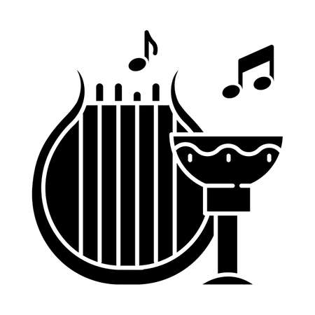 Ancient culture and life glyph icon. Harp melody. Goblet for wine. Greek old artifacts. Historical items. Archeological discoveries. Silhouette symbol. Negative space. Vector isolated illustration