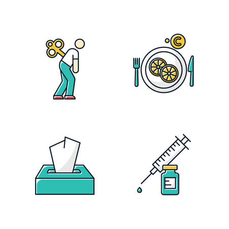 Common cold color icons set. Fatigue and exhaustion. Vitamin C in lemon slices. Disposable wipes. Pack of tissues. Vaccination and immunization. Healthcare. Pharmacy. Isolated vector illustrations