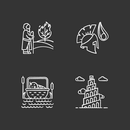 Bible narratives chalk icons set. The birth of Moses, David and Goliath, Babel tower myths. Religious legends. Christian religion. Biblical stories. Isolated vector chalkboard illustrations
