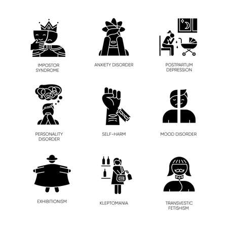 Mental disorder glyph icons set. Impostor syndrome. Postpartum depression. Personality disorder. Self-harm. Exhibitionism. Kleptomania. Fetishism. Silhouette symbols. Vector isolated illustration
