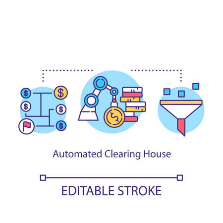Automated Clearing House concept icon. Electronic network idea thin line illustration. Financial transaction. ACH credit transfer. Payment concept. Vector isolated outline drawing. Editable stroke 일러스트