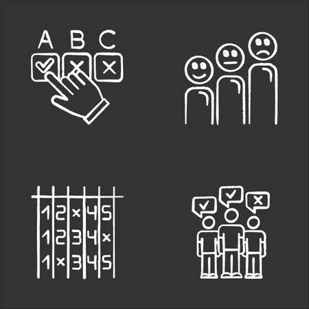 Survey chalk icons set. Choosing correct option. Customer satisfaction level. Positive and negative emoticons. Select number. Checklist. Mass poll. Vote. Isolated vector chalkboard illustrations