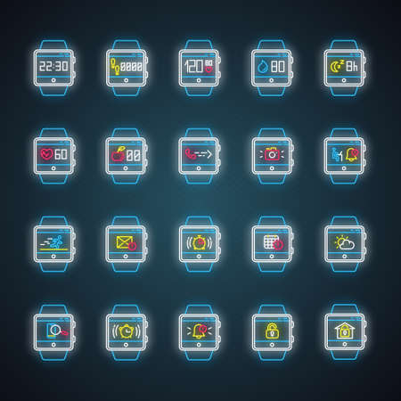 Fitness tracker functions neon light icons set. Wristband smartwatch capabilities and wellness services. Running health applications. Modern device. Glowing signs. Vector isolated illustrations Иллюстрация