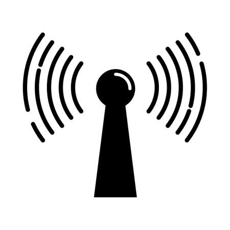 Radio signal glyph icon. Wireless connection. Sound waves, audio broadcasting. Hardware, equipment, technology. Coverage area. Silhouette symbol. Negative space. Vector isolated illustration