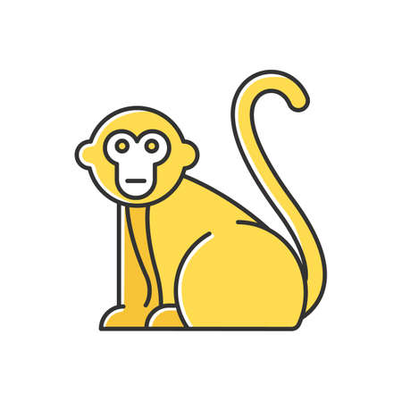 Monkey yellow color icon. Tropical country animals, mammals. Trip to Indonesia zoo. Exploring exotic wildlife. Primate sitting. Visiting Balinese forest fauna. Isolated vector illustration Ilustrace
