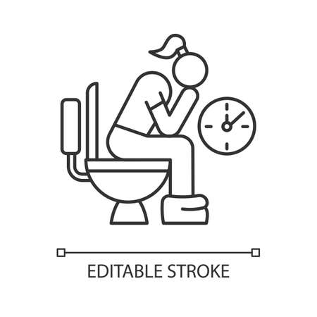 Constipation linear icon. Menstruation pain. Period problem. Girl in lavatory. Digestive tract problem. Thin line illustration. Contour symbol. Vector isolated outline drawing. Editable stroke