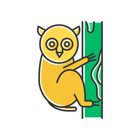 Tarsier yellow color icon. Tropical country animals, mammals. Exploring exotic Indonesian islands wildlife. Primate on tree. Visiting Balinese forest fauna. Isolated vector illustration Ilustração