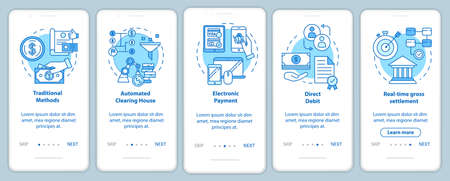 Payment systems onboarding mobile app page screen with linear concepts. Electronic payment. Direct debit. Five walkthrough steps graphic instructions. UX, UI, GUI vector template with illustrations