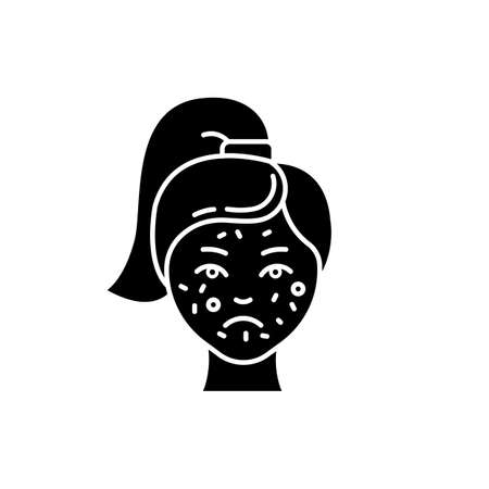 Acne glyph icon. Pimples on female face. Skincare for irritation. Puberty and teenager health problem. Cosmetology and dermatology. Silhouette symbol. Negative space. Vector isolated illustration