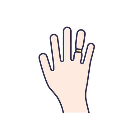 Swelling color icon. Weight gain. Swollen finger. Bloating on arm. Hand inflation. Joint trauma. Predmenstrual syndrome symptom. Overweight problem. Healthcare issue. Isolated vector illustration