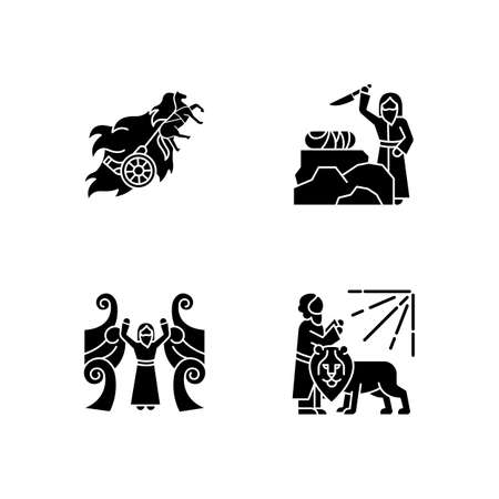 Bible narratives glyph icons set. Chariot of fire, binding of Isaac myths. Religious legends. Christian religion, holy book scenes. Biblical stories. Silhouette symbols. Vector isolated illustration Vectores