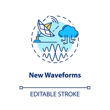 New waveforms concept icon. 5G technologies idea thin line illustration. Global coverege. High-speed connection. Mobile internet. Vector isolated outline drawing. Editable stroke
