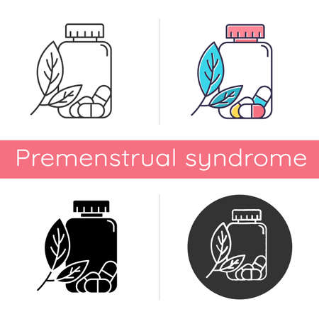 Herbal pills icon. Homeopathy and holistic approach. Organic medication. Natural prescription. Pharmaceutical aid. Illness remedy. Flat design, linear and color styles. Isolated vector illustrations