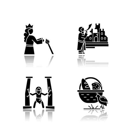 Bible narratives drop shadow black glyph icons set. Samson, manna and quail, The fall of Jericho myths. Religious legends. Christian religion, holy book scenes. Isolated vector illustrations Ilustrace