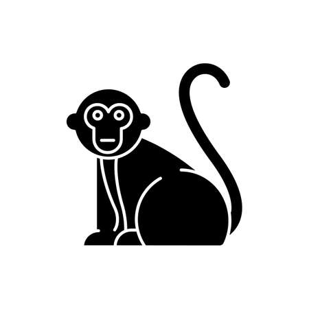 Monkey glyph icon. Tropical country animals, mammals. Trip to Indonesia zoo. Exploring exotic wildlife. Primate sitting. Silhouette symbol. Negative space. Vector isolated illustration Illustration
